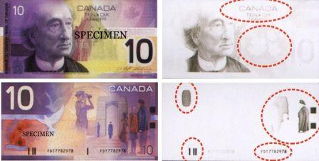 Canadian $10 bills have several features visible only under infrared light
