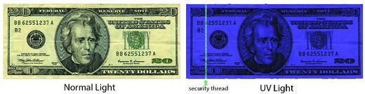 20 dollar bill with and without UV