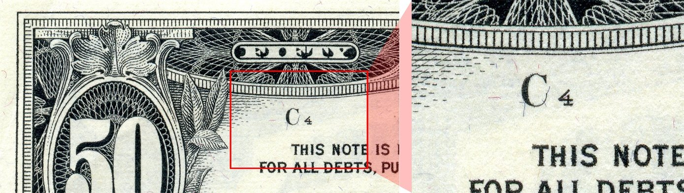 note position on Series 1969C $50 bill