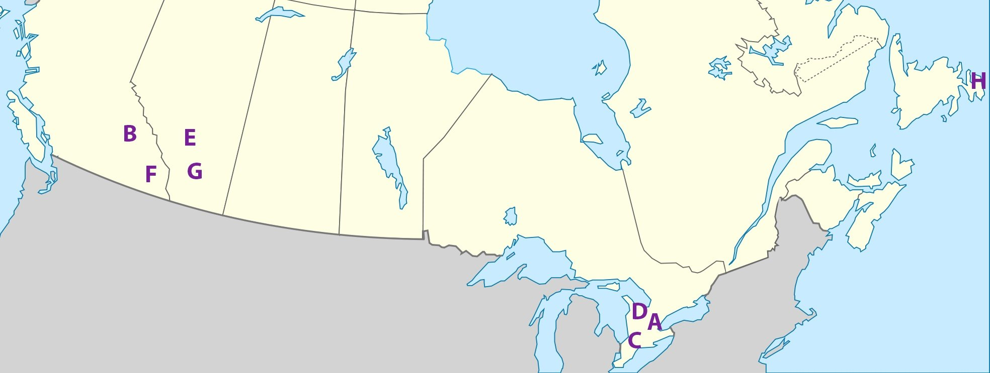 Map of Canadian Cities Affected by Counterfeit US Bills