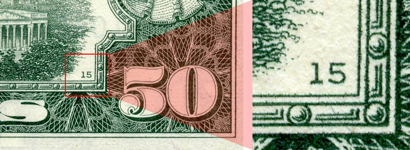 back plate number as printed on the Series 1969C $50 bill