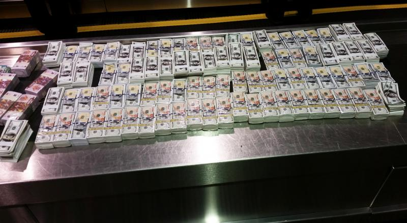 Confiscated counterfeit money at Detroit Metro Airport