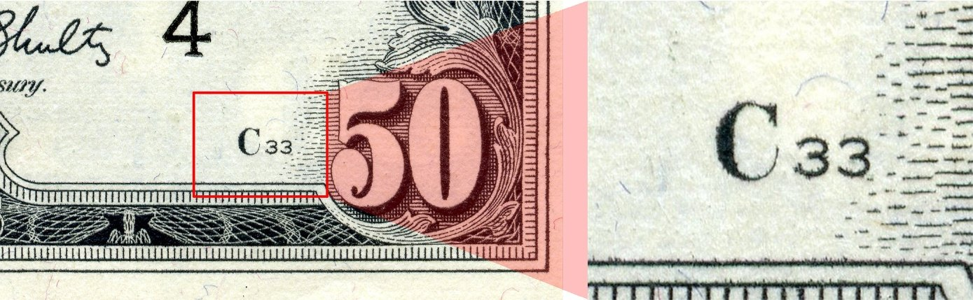 face plate number as printed on the Series 1969C $50 bill