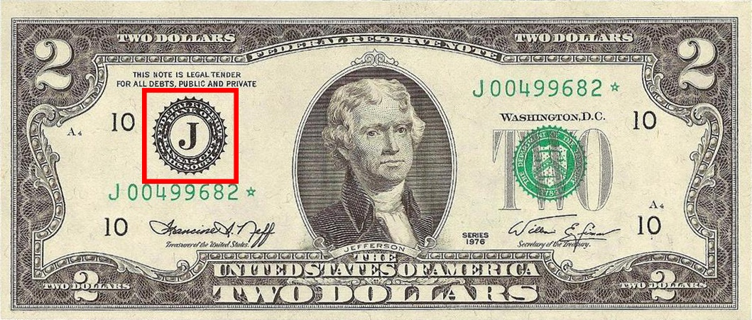 the Federal Reserve Bank seal as seen on the Series 1976 $2 bill