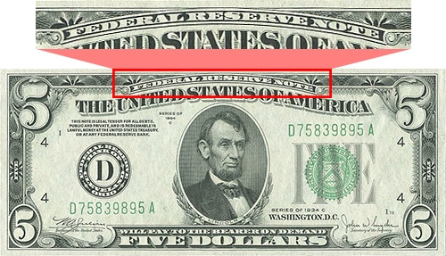 federal reserve note written on top of Series 1934C $5 bill