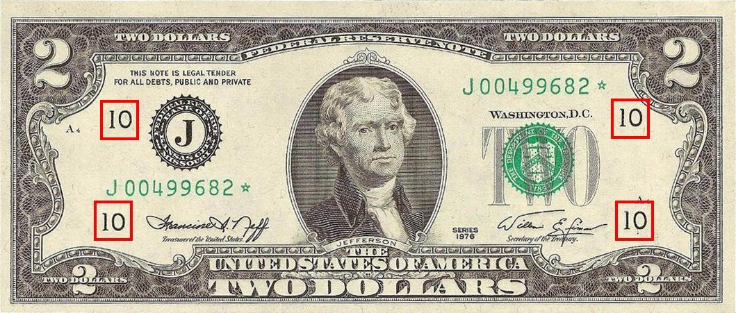 the Federal Reserve Number as printed on the Series 1976 $2