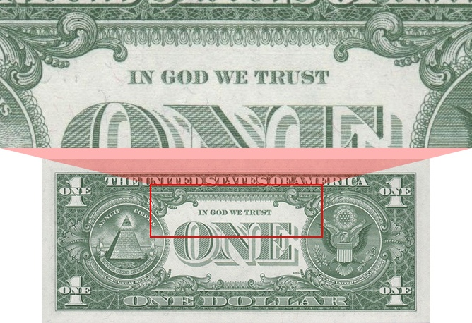 'In God We Trust' as printed on the Series 1963 $1 bill
