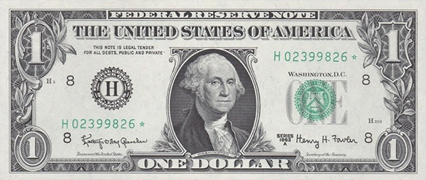 obverse of the Series 1963 $1 federal reserve note