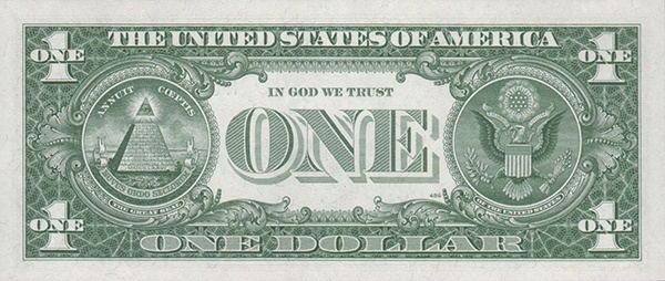 reverse of the Series 1963a $1 federal reserve note