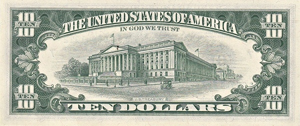reverse of the Series 1963a $10 federal reserve note