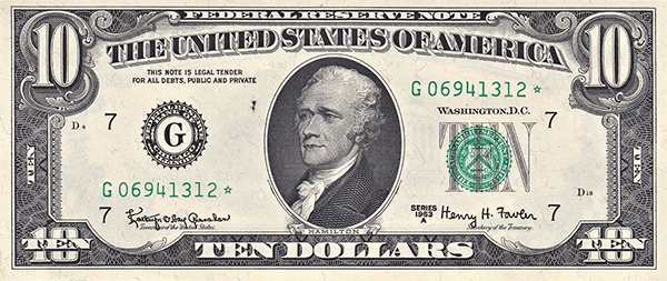 obverse of the Series 1963a $10 federal reserve note