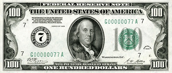 obverse of the Series 1928 $100 federal reserve note