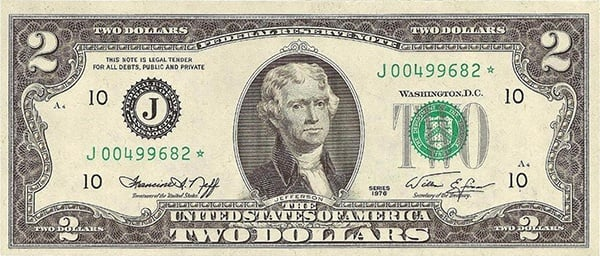obverse of the Series 1976 $2 federal reserve note
