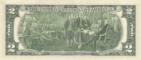 reverse of the Series 1976 $2 federal reserve note