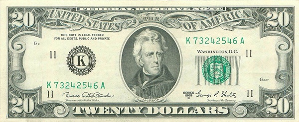 obverse of the Series 1969c $20 federal reserve note