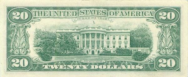 reverse of the Series 1969c $20 federal reserve note