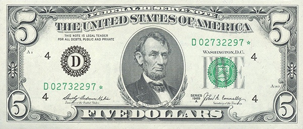 obverse of the Series 1969a $5 federal reserve note