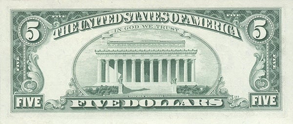 reverse of the Series 1969a $5 federal reserve note