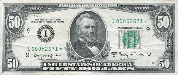 obverse of the Series 1963a $50 federal reserve note