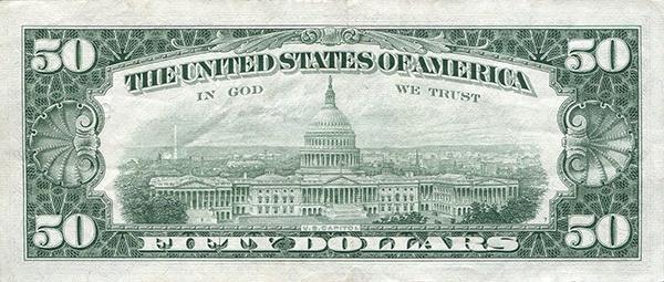 reverse of the Series 1963a $50 federal reserve note