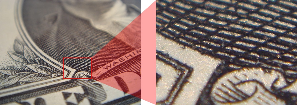 raised ink security feature example on $1 bill