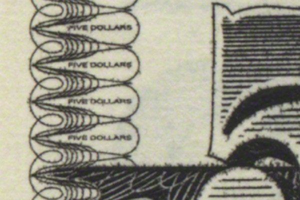 microprinting on the 2000-2008 issue of the 5 dollar bill