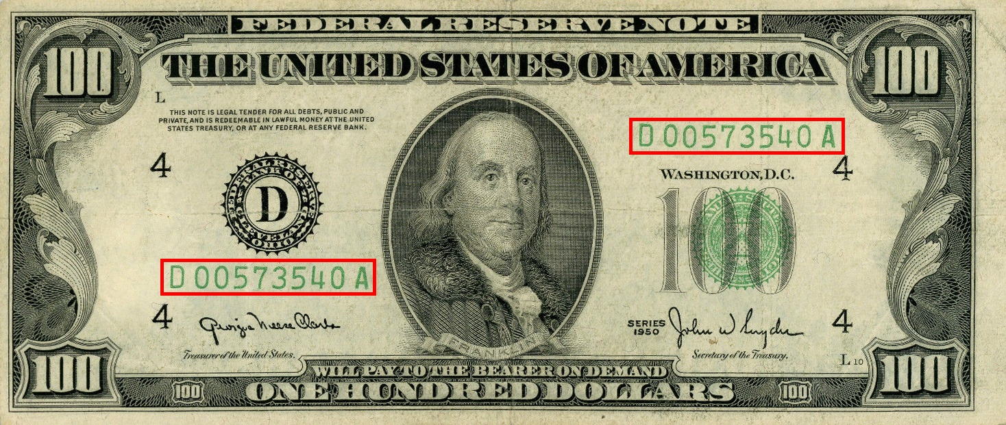 the serial numbers outlined in red on the Series 1950 $100 bill
