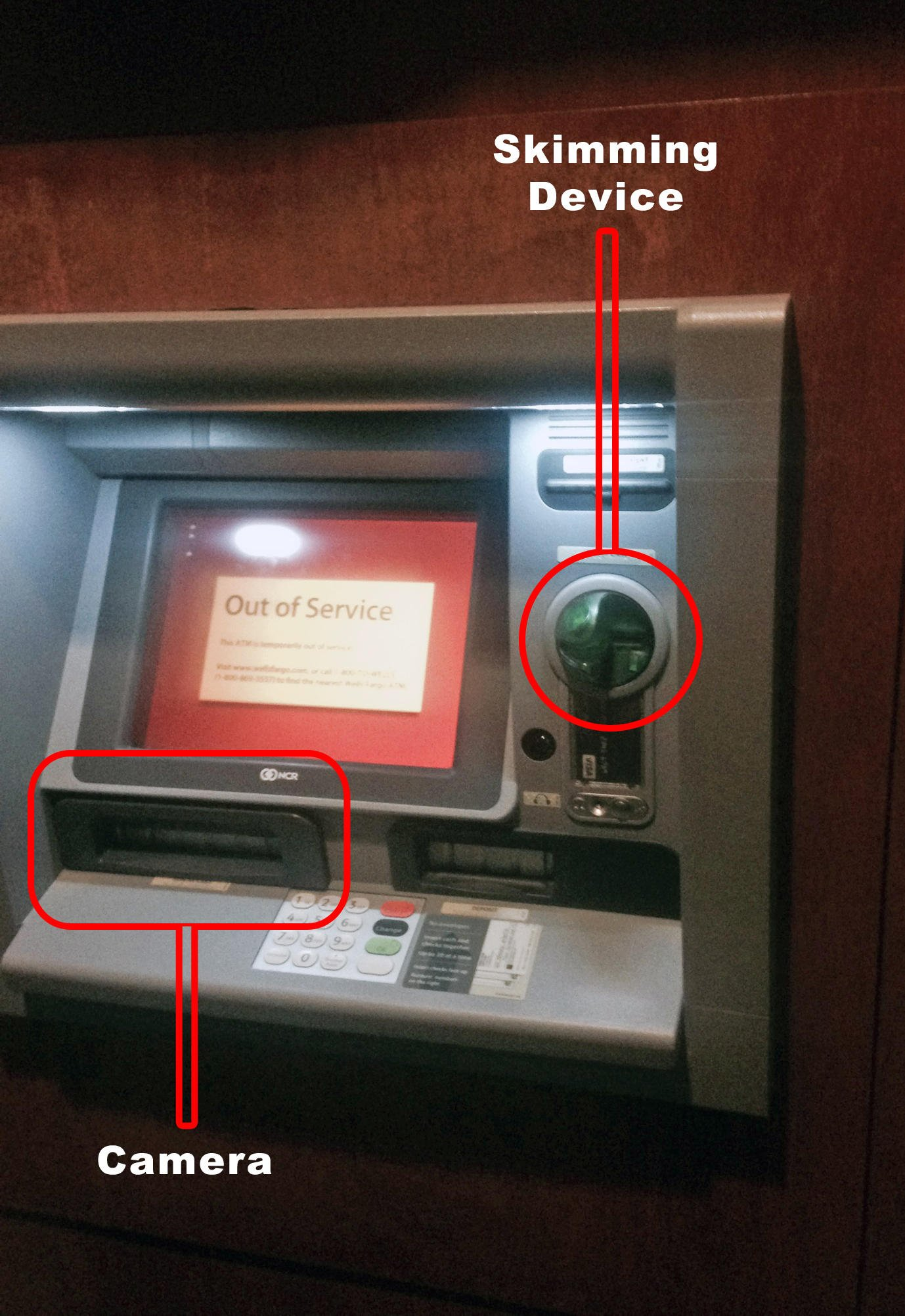 ATM skimmer with camera