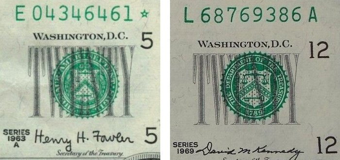 the Treasury seal as printed in Latin on the Series 1963A $10 bill vs. the Treasury seal as printed in English on the Series 1969C $20 bill